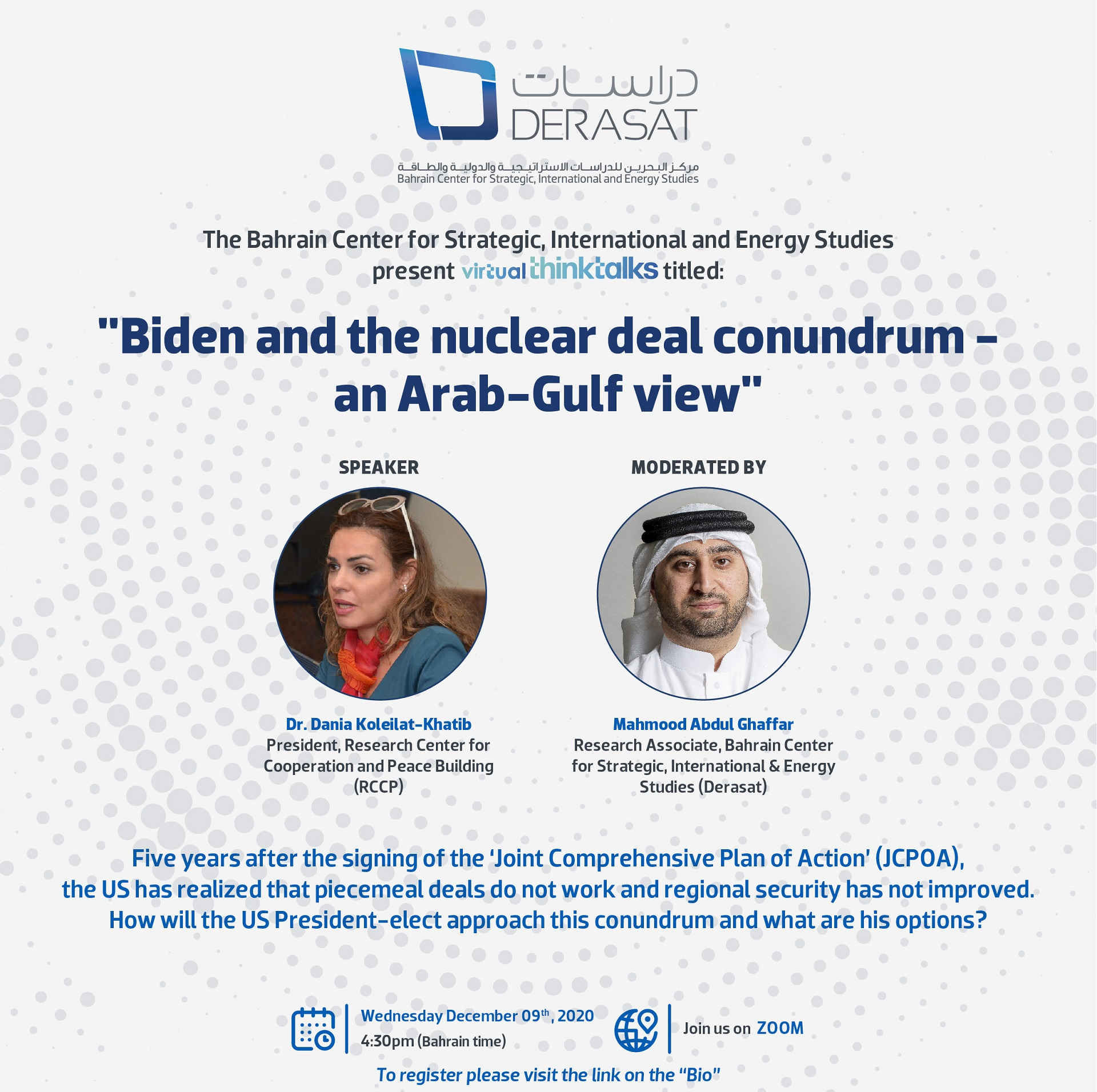 "Virtual ThinkTalk: ""Biden and the nuclear deal conundrum – an Arab-Gulf view"""