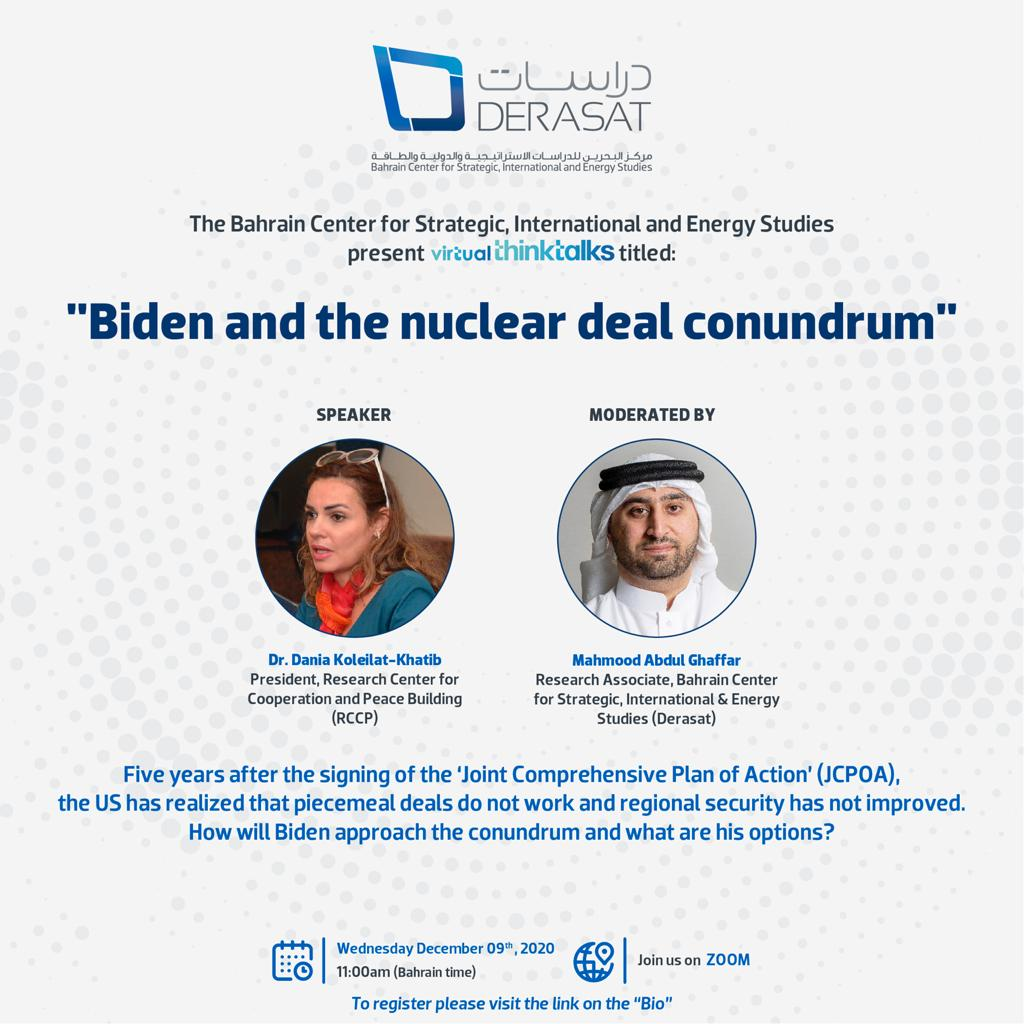 "Virtual ThinkTalk: ""Biden and the nuclear deal conundrum"""